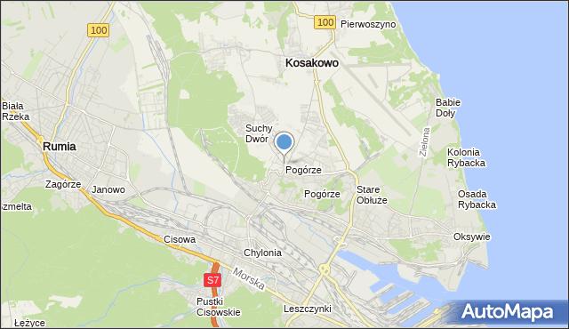 mapa Pogórze, Pogórze gmina Kosakowo na mapie Targeo