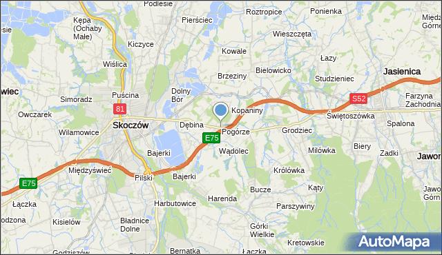 mapa Pogórze, Pogórze gmina Skoczów na mapie Targeo