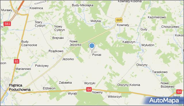 mapa Poniat, Poniat na mapie Targeo