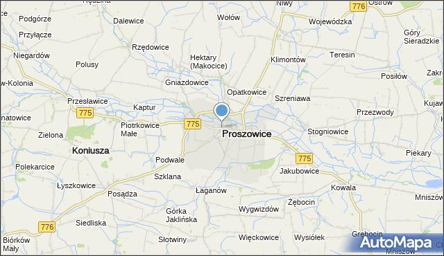 mapa Proszowice, Proszowice na mapie Targeo
