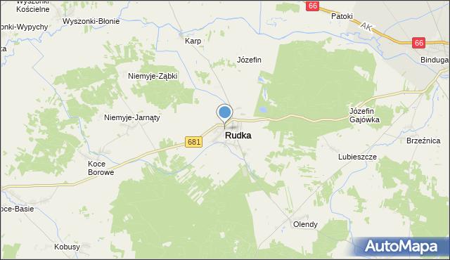 mapa Rudka, Rudka powiat bielski na mapie Targeo
