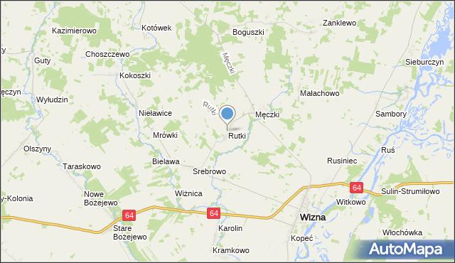mapa Rutki, Rutki gmina Wizna na mapie Targeo