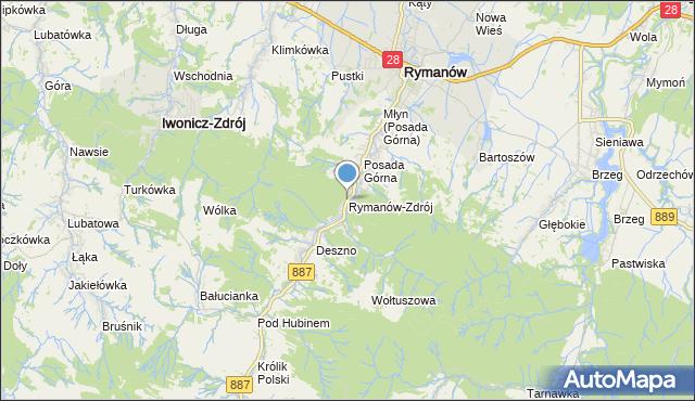 mapa Rymanów-Zdrój, Rymanów-Zdrój na mapie Targeo