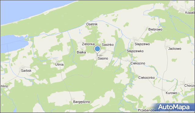 mapa Sasino, Sasino na mapie Targeo