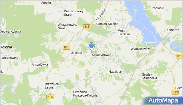 mapa Sewerynówka, Sewerynówka gmina Siemień na mapie Targeo