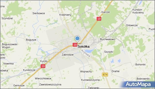 mapa Sokółka, Sokółka na mapie Targeo