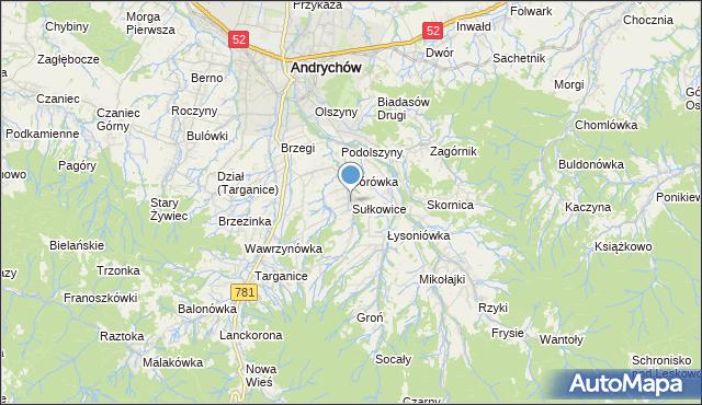 mapa Sułkowice, Sułkowice gmina Andrychów na mapie Targeo