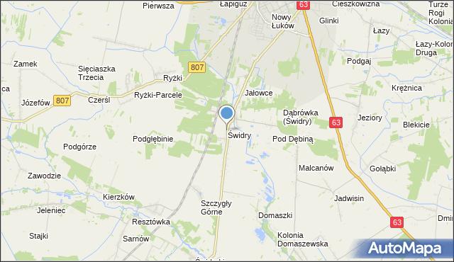 mapa Świdry, Świdry gmina Łuków na mapie Targeo