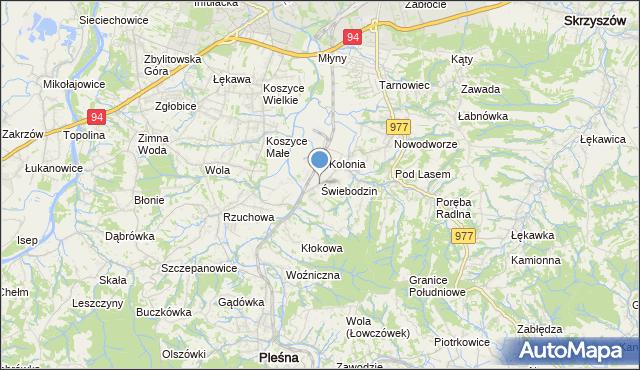 mapa Świebodzin, Świebodzin gmina Pleśna na mapie Targeo