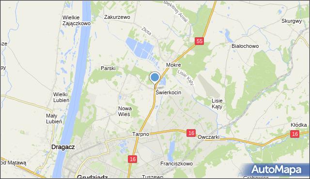 mapa Świerkocin, Świerkocin gmina Grudziądz na mapie Targeo