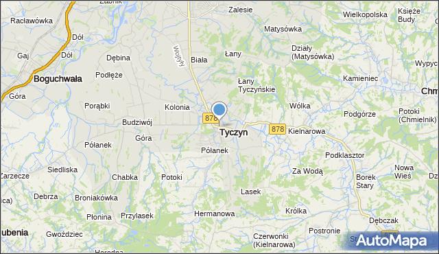 mapa Tyczyn, Tyczyn powiat rzeszowski na mapie Targeo