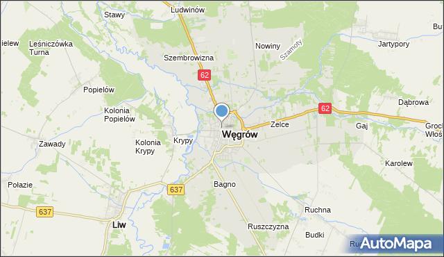 mapa Węgrów, Węgrów na mapie Targeo