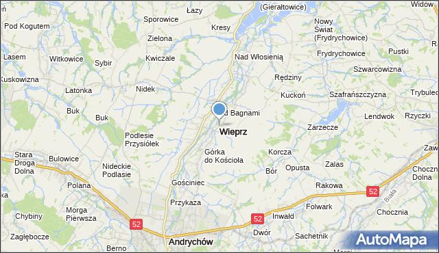 mapa Wieprz, Wieprz powiat wadowicki na mapie Targeo