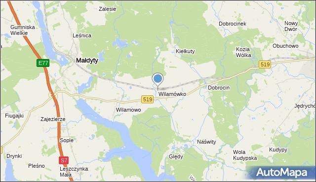 mapa Wilamówko, Wilamówko na mapie Targeo