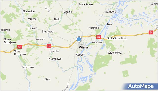 mapa Wizna, Wizna na mapie Targeo
