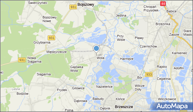 mapa Wola, Wola gmina Miedźna na mapie Targeo