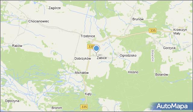 mapa Żabice, Żabice gmina Chocianów na mapie Targeo
