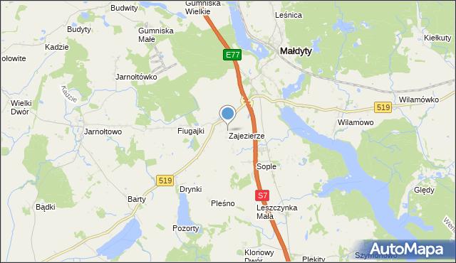 mapa Zajezierze, Zajezierze gmina Małdyty na mapie Targeo