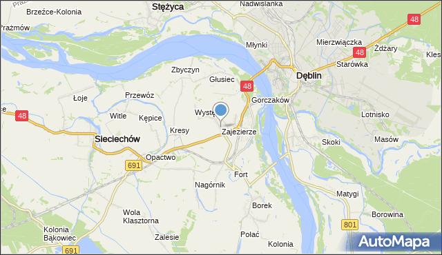 mapa Zajezierze, Zajezierze gmina Sieciechów na mapie Targeo