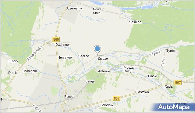 mapa Załuże, Załuże gmina Lubaczów na mapie Targeo