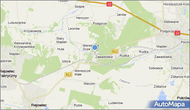 mapa Zawadówka, Zawadówka gmina Rejowiec na mapie Targeo