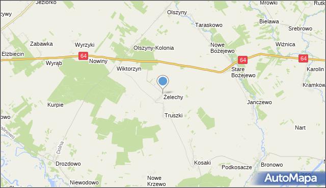 mapa Żelechy, Żelechy gmina Piątnica na mapie Targeo