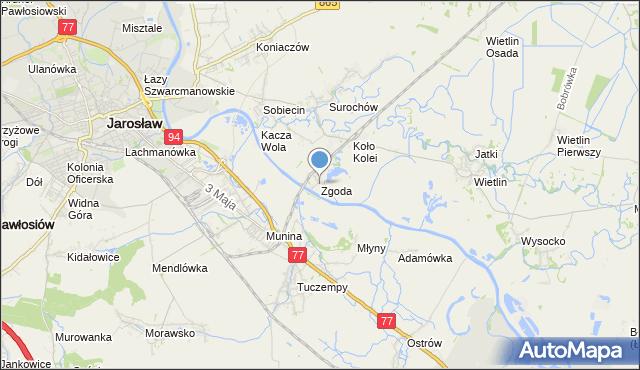mapa Zgoda, Zgoda gmina Jarosław na mapie Targeo