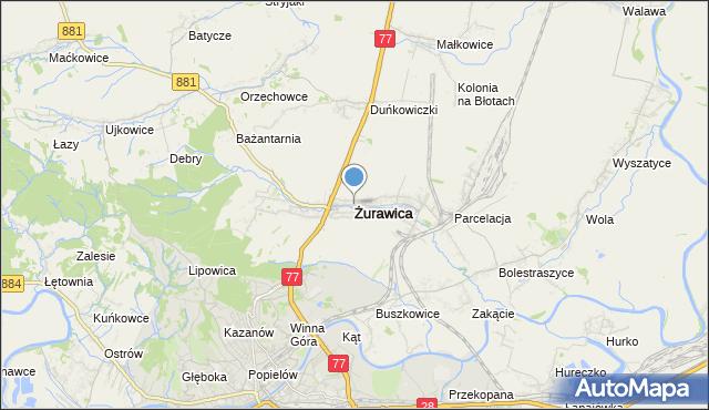 mapa Żurawica, Żurawica powiat przemyski na mapie Targeo