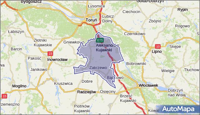 powiat aleksandrowski - województwo kujawsko-pomorskie na mapie Targeo