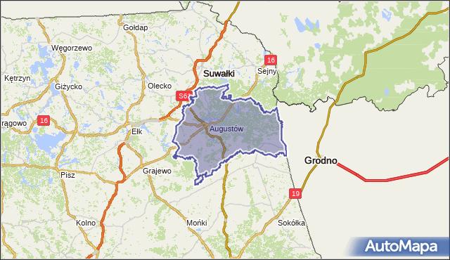 powiat augustowski - województwo podlaskie na mapie Targeo