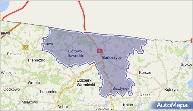 powiat bartoszycki - województwo warmińsko-mazurskie na mapie Targeo