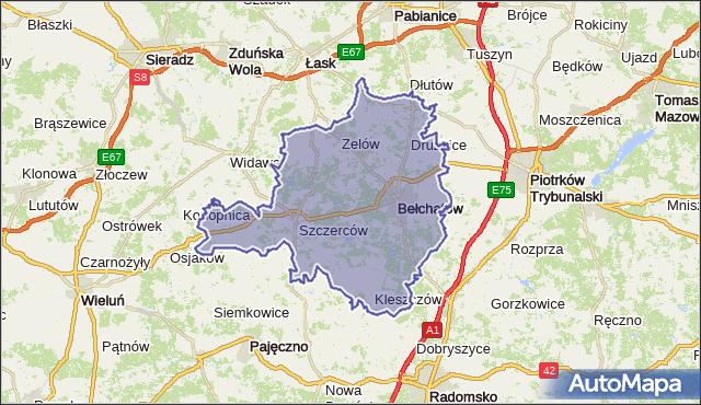 powiat bełchatowski - województwo łódzkie na mapie Targeo