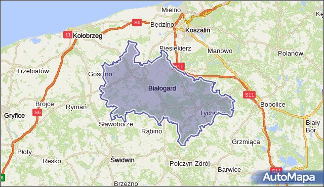 powiat białogardzki - województwo zachodniopomorskie na mapie Targeo