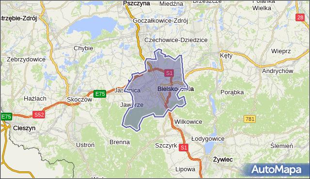 powiat Bielsko-Biała - województwo śląskie na mapie Targeo