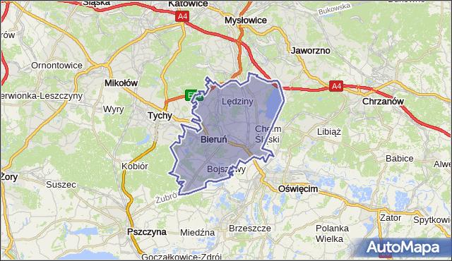 powiat bieruńsko-lędziński - województwo śląskie na mapie Targeo