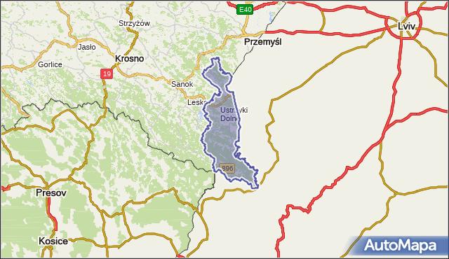 powiat bieszczadzki - województwo podkarpackie na mapie Targeo