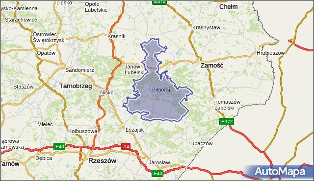 powiat biłgorajski - województwo lubelskie na mapie Targeo