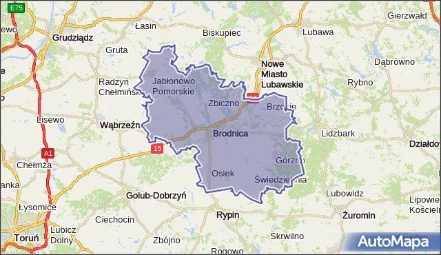 powiat brodnicki - województwo kujawsko-pomorskie na mapie Targeo