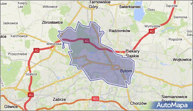 powiat Bytom - województwo śląskie na mapie Targeo