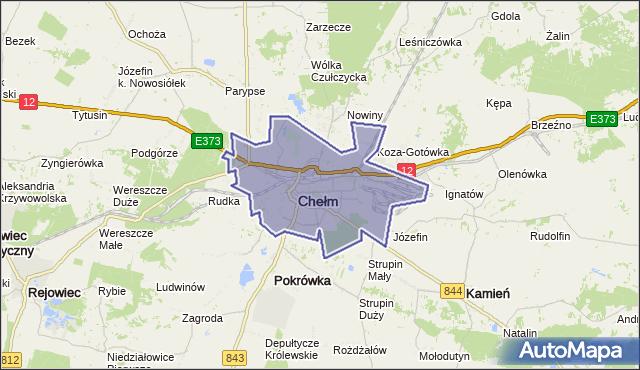 powiat Chełm - województwo lubelskie na mapie Targeo
