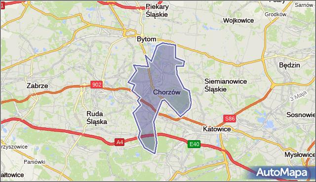 powiat Chorzów - województwo śląskie na mapie Targeo