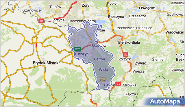 powiat cieszyński - województwo śląskie na mapie Targeo