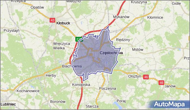 powiat Częstochowa - województwo śląskie na mapie Targeo