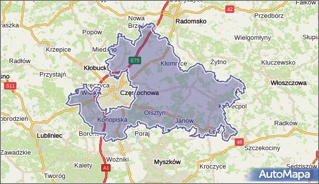 powiat częstochowski - województwo śląskie na mapie Targeo