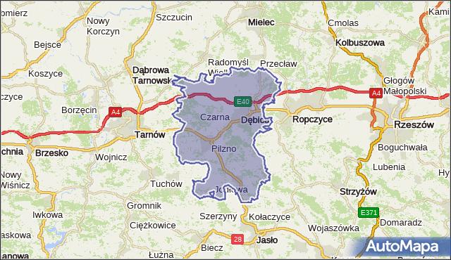 powiat dębicki - województwo podkarpackie na mapie Targeo
