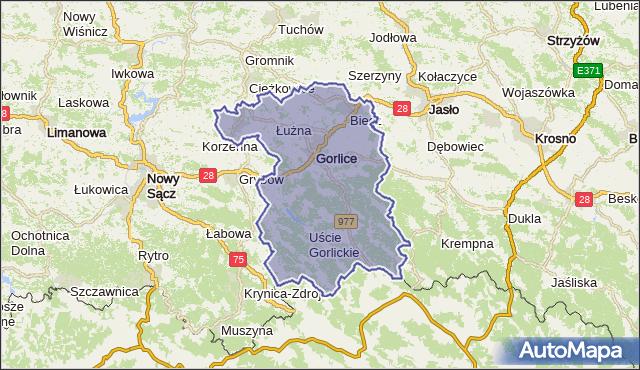 powiat gorlicki - województwo małopolskie na mapie Targeo