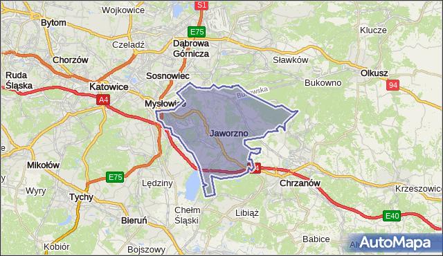 powiat Jaworzno - województwo śląskie na mapie Targeo