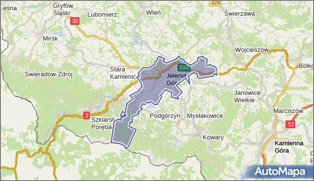 powiat Jelenia Góra - województwo dolnośląskie na mapie Targeo