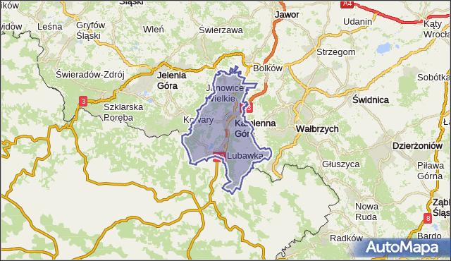 powiat kamiennogórski - województwo dolnośląskie na mapie Targeo