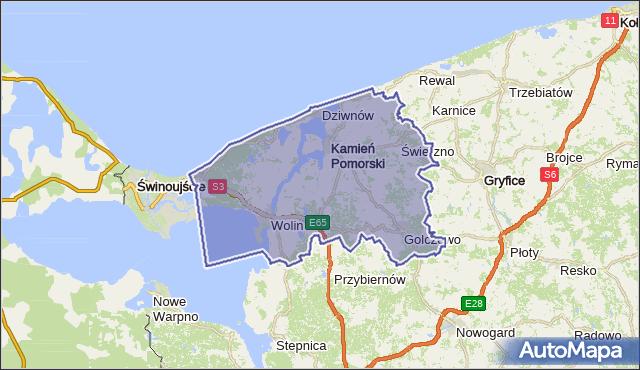 powiat kamieński - województwo zachodniopomorskie na mapie Targeo
